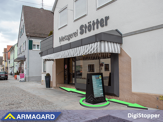 double sided, battery powered digital signage to engage customers from both directions