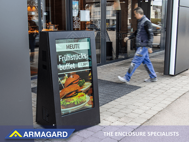 Mobile outdoor digital signage outside coffee shop