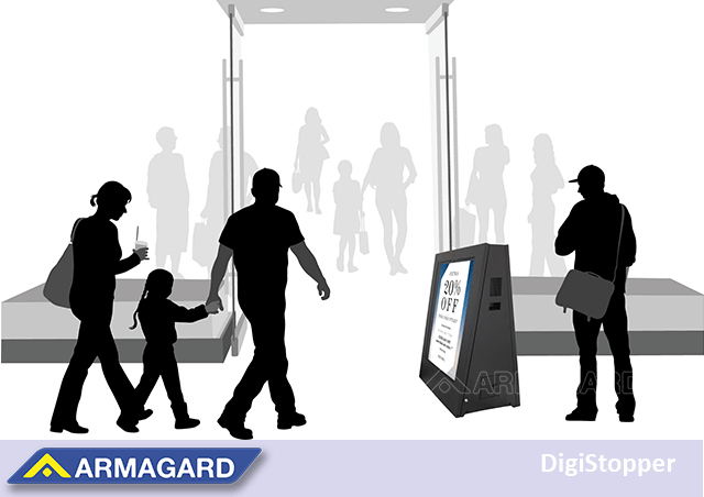 Portable outdoor digital signage in storefront