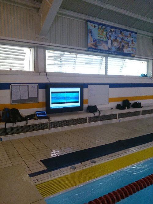 digital signage system poolside