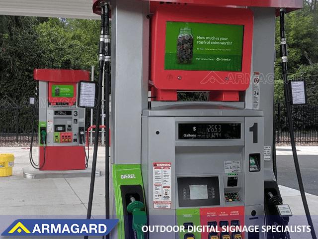 Dual-sided petrol pump topper display