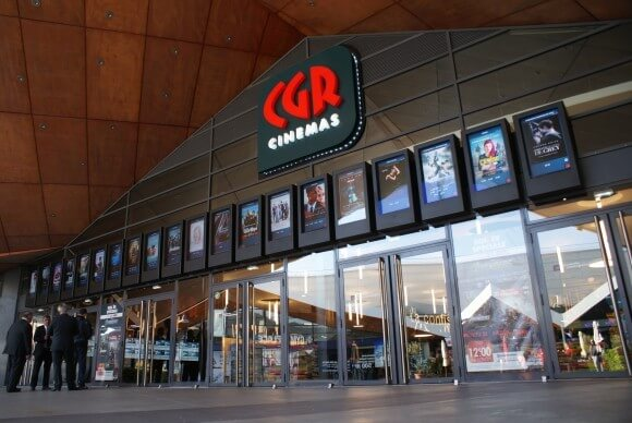 Armagard digital signage at the entrance to CGR cinemas in France