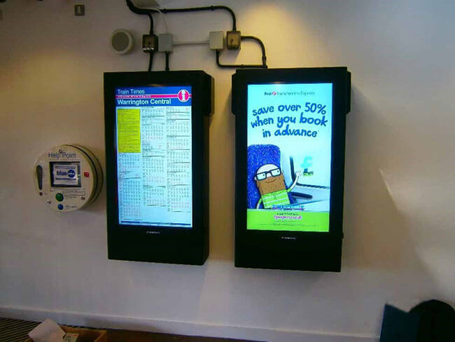 Digital signage warrington train station
