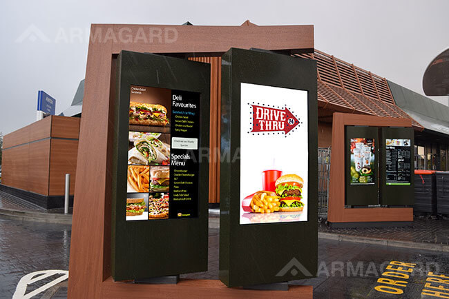 Digital signage drive thru menu boards