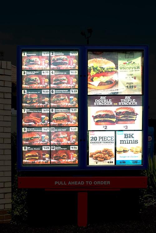 Printed menus in backlit frames