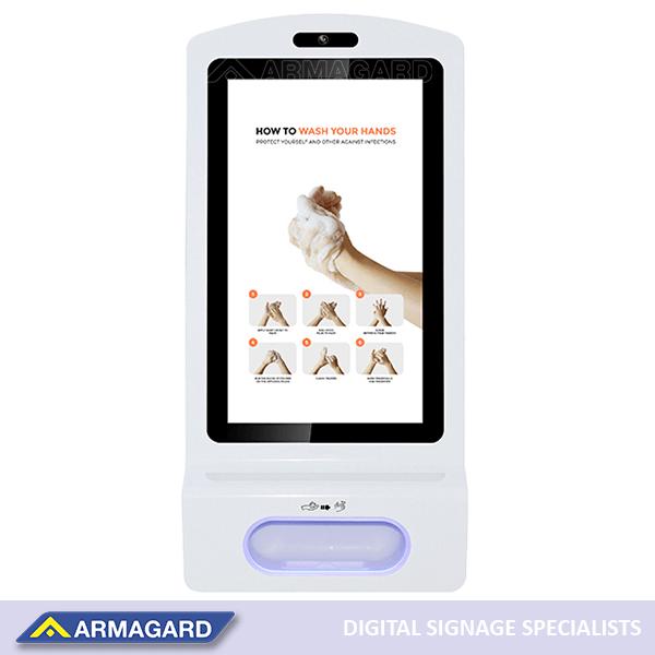"Armagard's hand sanitiser advertising kiosk with 21.5"" LCD screen."