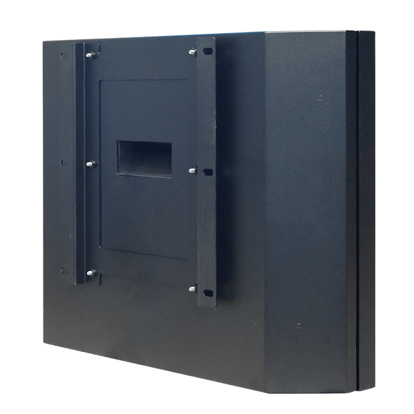 Slimline, Wall-Mounted Outdoor Digital Display Cabinet rear side view