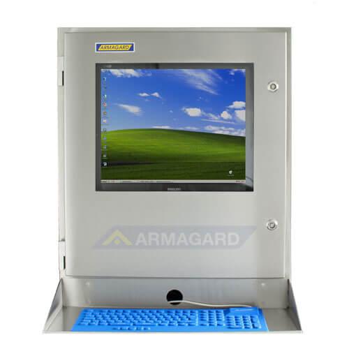 SENC-700 Waterproof Computer Enclosure - front view with keyboard tray and keyboard