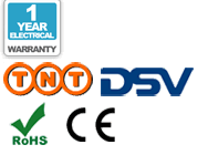 1 year warranty, TNT delivery, DSV delivery, CE, and RoHS logos