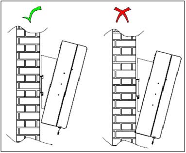 2 diagrams showing the right and wrong way for a successful LCD enclosure digital signage installation