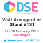 graphic to inviting people to visit armagard at stand #131 at DSE-2013