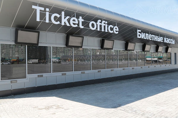 Outdoor digital signage in use at a stadium ticket office